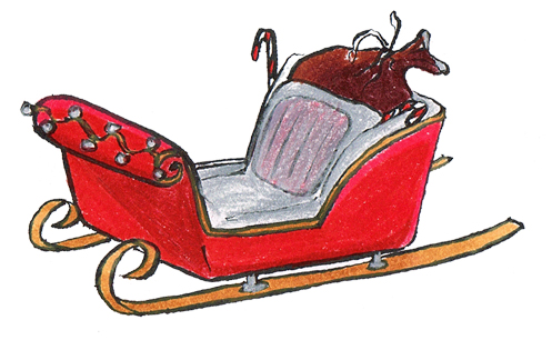 BBB Santa Sleigh Illustration