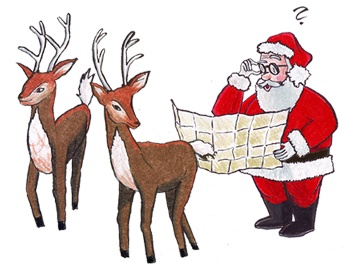 BBB Santa and reindeer illustration